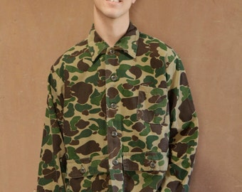 mens vintage CAMO woodland camouflage pocket button upmade in U.S.A.