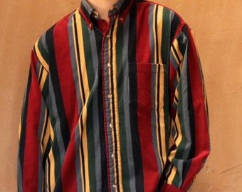 striped corduroy COLOR BLOCK oxford 90s COTTON striped long sleeve button up shirt