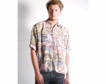 90s silky VERSACE style RAYON button up shirt