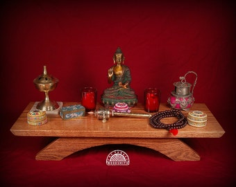 Table top puja table, oak with a walnut finish. TTPT-OWF