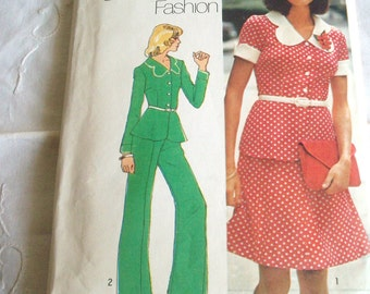 Vintage Sewing Pattern 6144 Simplicity Young Contemporary Fashion 1973 Dress and Pant Suit