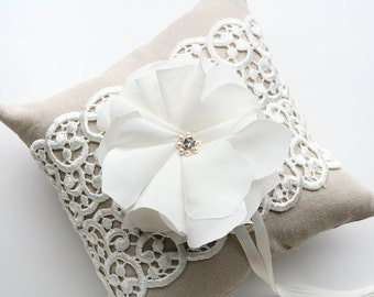 Ring Bearer Pillow, Rustic Wedding, Lace Pillow, Wedding Pillow, Ring Cushion