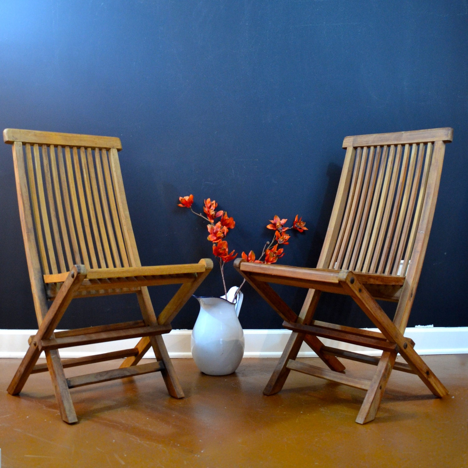 Beautiful Pair Of Teak Folding Chairs Wellesley Manor Teak