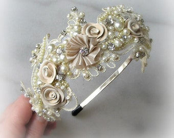 Champagne Lace Headband with Rhinestones and Pearls, Bridal Headband, Crystal Head Piece, Ivory, White - ELISABETA