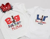 Big Sister Baseball Shirt and Little Brother Baseball Shirt with Matching Hairbow