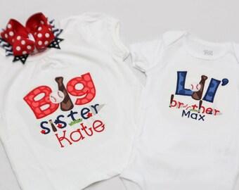 Big Sister Baseball Shirt and Little Brother Baseball Shirt with Matching Hairbow