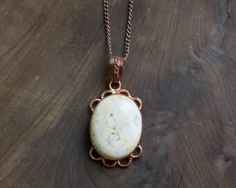 Vintage Copper + Gemstone Pendant Necklace