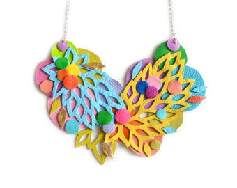 Circle Statement Necklace, Leaf Flower Rainbow Bib, Hand Cut Lace Lattice Geometric Necklace, Colorful Statement Jewelry