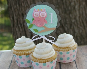 owl cupcake topper, baby owl, first birthday, cupcake toppers, 1st birthday party, owl party, party decorations, owl party decor