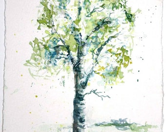 Aspen Tree watercolor Painting - giclee print - lime green springtime - fine art 12x24