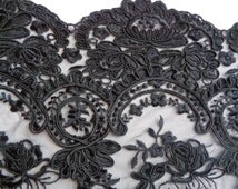 """45"""" Wide Black Stretch Lace Tulle Alencon Lace Victorian Style Formal Fabric Bridal Lace Antique Style Black Lace Made in USA LA"""