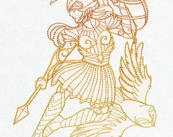 Greek Gods - Athena Embroidered 100% Cotton Kitchen Towel