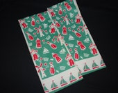 Vintage 1950's Holland Dutch Linen Kitchen Tea Towels - Red and Green Sailboats - Tulips - Windmills Theme - Set of 2 - New Never Used