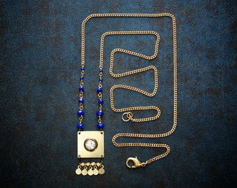 Raw Brass Geometric Statement Necklace with Cobalt Blue Crystals and Vintage Rhinestone