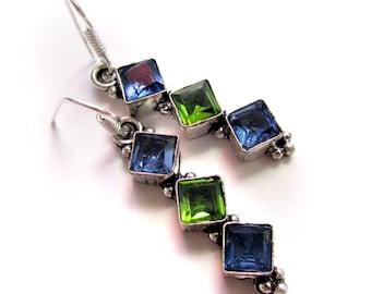Silver Earrings,Green Peridot and Blue Glass Earrings Silver plated,Dangle jewelry,Chandelier earrings, Gemstone jewelry by Taneesi
