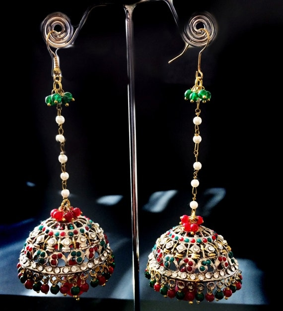 Red Chandelier India: Ruby Red Jhumkaschandelier Earringsred & Green By