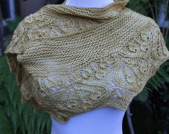 Pattern Only Golden Cherries Crescent Shaped Shawlette or Scarf