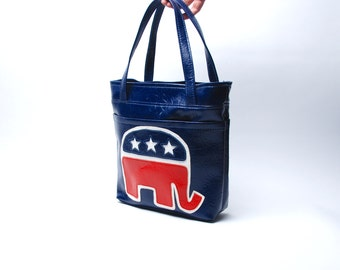 1960's Republican Elephant Vinyl Purse in Excellent Condition, Great for the Republican National Convention