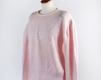 Vintage Pink Sweater with Aurora Borealis Beads and Sequins