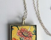 SPRING Chinese Yellow Flower Pendant Necklace