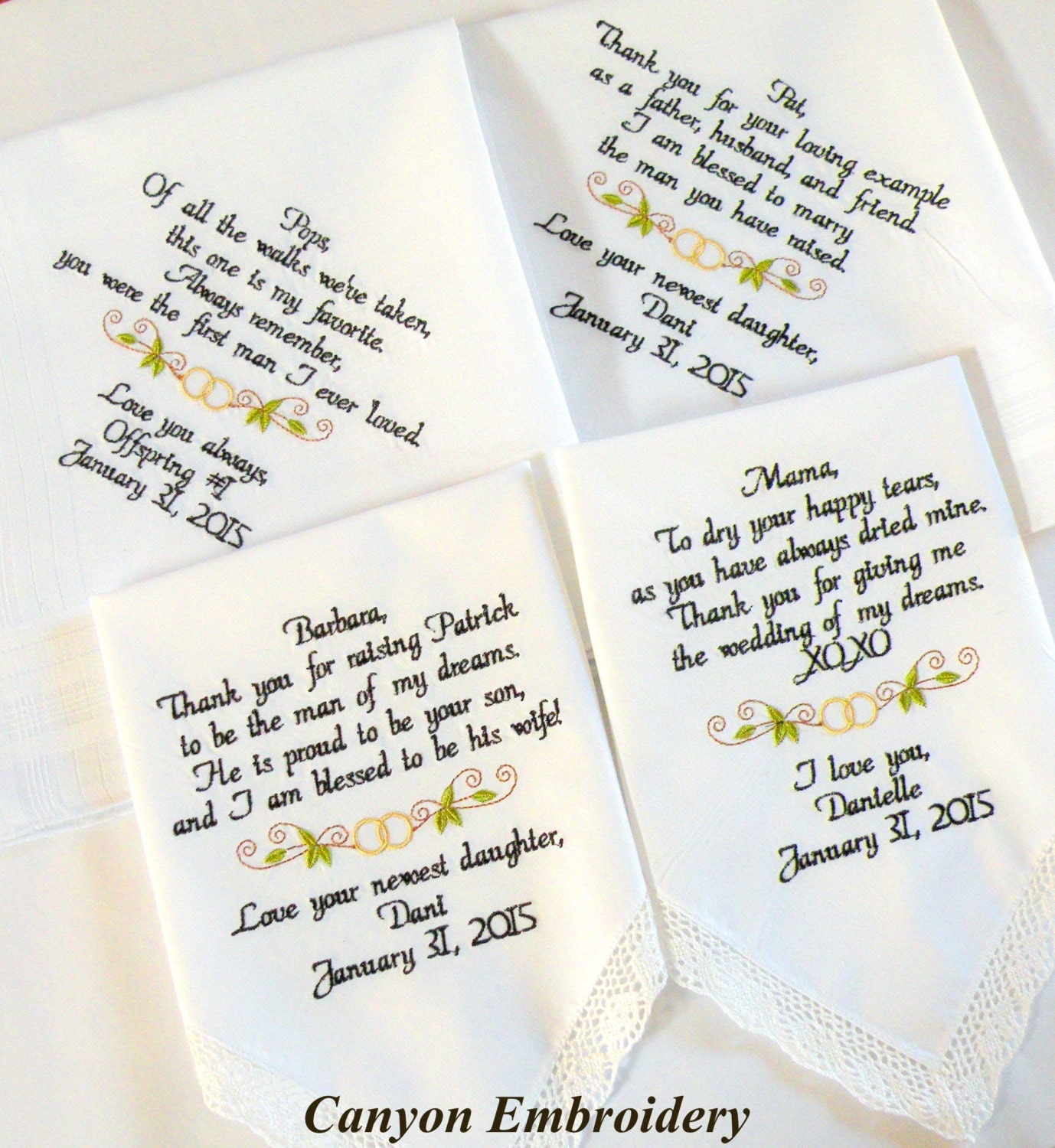 Wedding Gift Embroidered Wedding Handkerchiefs Wedding Gifts