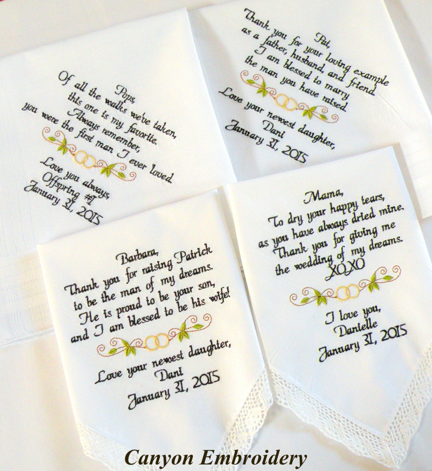 Wedding Gift Ideas Embroidered : Wedding Gift Embroidered Wedding Handkerchiefs Wedding Gifts