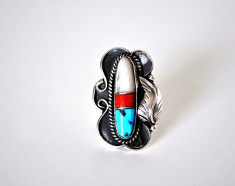 Gorgeous Signed Sterling Silver Turquoise Coral and Mother of Pearl Ring
