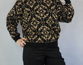 SALE - Vintage 80s Women's Black and Gold Glam Pullover Fall Winter Sweater