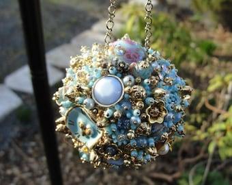Bejeweled Ornament Turquoise Goldtoned Light Blue Art Piece OOAK Vintage Jewelry Rhinestones