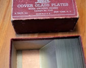 Vintage Leitz Cover Glass Plates for microscope Box for 100 2x2 has 34 plates