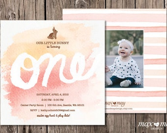One Year Birthday Invitation, Made to Order, Custom, Baby Girl - 5.25 x 5.25in