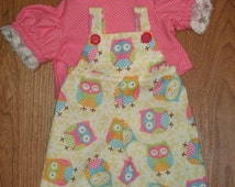"""For Cabbage Patch Doll Clothes 16"""" inch Girls CPK New Adorable OWL Polka Dots Bib Overalls, Blouse, Hair Bows."""