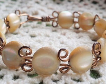 Vintage - Mother Of Pearl Bracelet - EPSTEAM - layering bracelet - Vintage bride wedding - MOP - Bohemian BOHO - Organic-  Layering bracelet