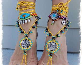 Yellow BAREFOOT SANDALS Mandala Yellow Black Wedding beaded Crochet sandals Foot Thongs foot jewelry Hippie Gypsy Bohemian bottomless shoes
