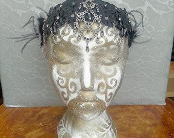 Hairband Headband Head-dress Accessory - black satin w lace, Ornate vintage Silver pendants Fur Rosettes Ostrich Feathers Swarovski crystals