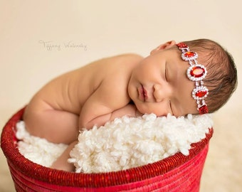 Ruby Slippers- sparkling red and silver rhinestone headband