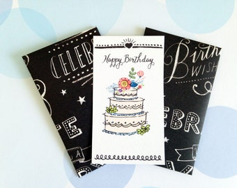 Birthday Gift Enclosure Card, Mini Cards and Envelopes, Gift Card Holder, Set of 10