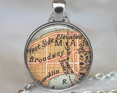 Broadway map necklace, Times Square map pendant, actress gift, Empire State Building, theatre pendant, theater gift key chain