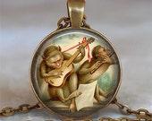 Monkey Music pendant, funny monkey necklace, monkey pendant, musician gift, funny monkey pendant keychain key fob