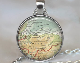 Honduras map pendant, Honduras map necklace, Honduras pendant, vintage map jewelry, resin pendant keychain key chain key fob