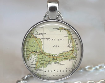 Cape Cod map pendant, Cape Cod pendant, resin pendant, Cape Cod necklace map jewelry Cape Cod keychain key chain key fob