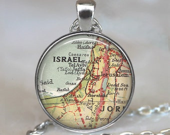 Israel map pendant, Israel pendant, Israel map jewelry, Israel map necklace, Israel keychain, Israel key chain, Israel key fob vintage map