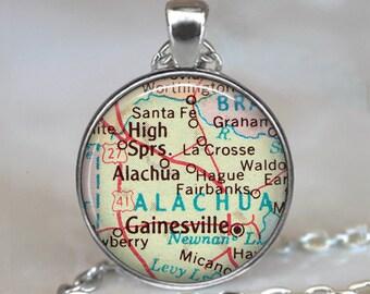 Gainesville, Florida map pendant, Gainesville necklace, Gainesville map pendant, Gainesville pendant, Gainesville keychain key chain