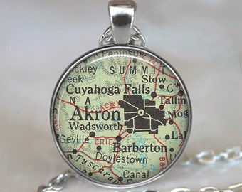 Akron, Ohio map pendant, Akron map pendant, Akron map necklace charm, vintage map jewelry, Akron pendant, Akron keychain