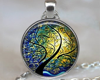 Willow, Wind and Sun pendant, willow tree jewelry, willow pendant abstract art pendant, willow necklace, willow keychain, key chain