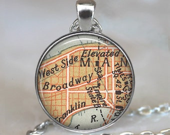 Broadway map necklace, Times Square map pendant actress gift, Empire State Building theatre pendant, theater gift key chain key ring