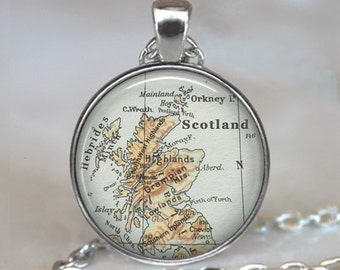 Scotland map pendant, Scotland map necklace Scotland necklace Scotland pendant map jewelry traveler's gift map jewellery key chain key ring
