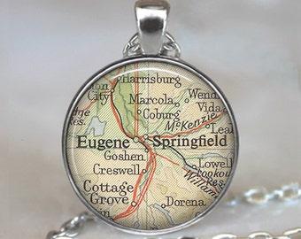 Eugene, Oregon map pendant, Eugene map pendant, Springfield, Oregon map necklace Eugene keychain key chain