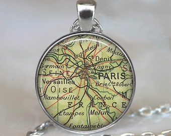 Paris map pendant, Paris map necklace, Paris pendant, Paris necklace, map jewelry Parish keychain Paris key chain