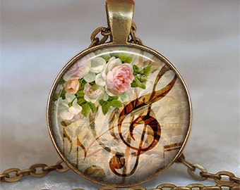 Music & Roses necklace, music necklace, musician gift, music pendant, music lover's gift, music student gift keychain
